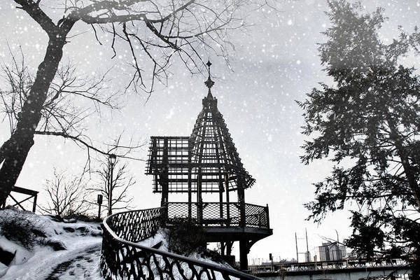 Photograph - Snowing At The Gazebo by Alice Gipson