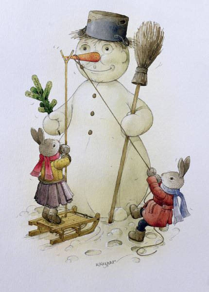 Carrot Painting - Snowman And Hares by Kestutis Kasparavicius