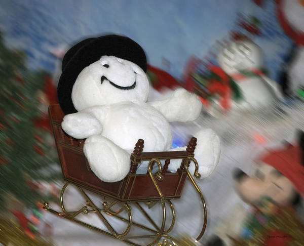 Ear Muffs Photograph - Snowman And His Sleigh by Thomas Woolworth
