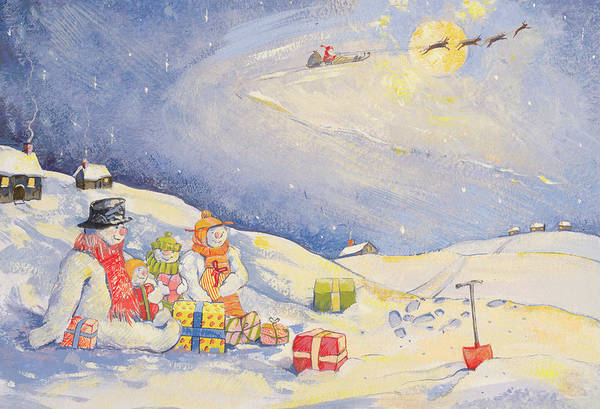 Sledge Wall Art - Painting - Snowman Family Christmas  by David Cooke