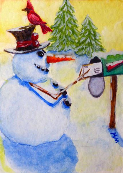 Painting - Snowman Greetings by Monique Morin Matson