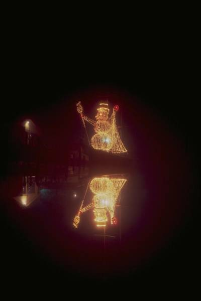 Christmass Photograph - Snowman In Lights by Eb Guenther