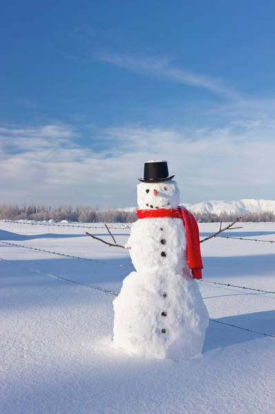 Top Hat Photograph - Snowman Wearing A Red Scarf And Black by Kevin Smith / Design Pics