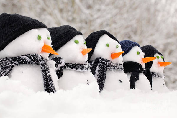 Carol Singing Photograph - Snowmen Close Up In A Row by Simon Bratt Photography LRPS
