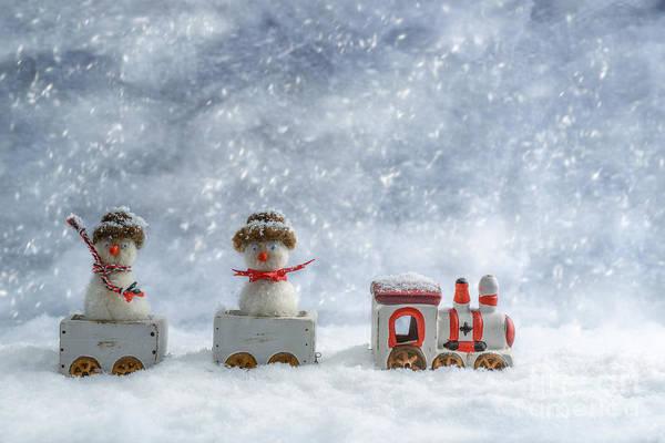 Knit Photograph - Snowmen In Train by Amanda Elwell