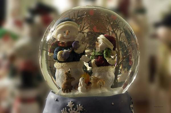 Ear Muffs Photograph - Snowmen Water Globe by Thomas Woolworth