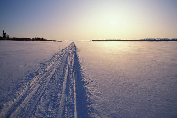 End Of The Trail Photograph - Snowmobile Trail In Arctic Tundra by Joel Sheagren