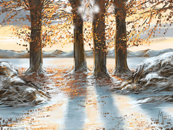 Snowscape Painting - Snowscape by Veronica Minozzi
