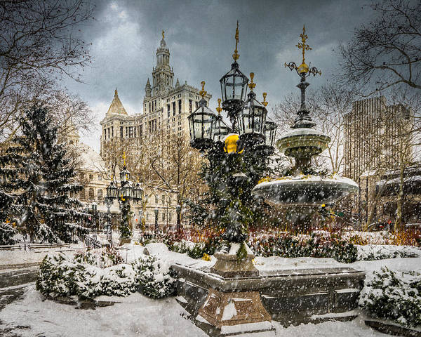 Photograph - Snowstorm At City Hall by Chris Lord