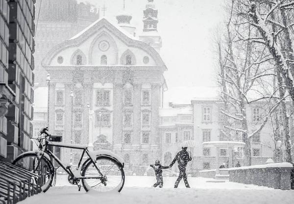 Ljubljana Wall Art - Photograph - Snowstorm  In Ljubljana by Photography By Daniel Frauchiger, Switzerland