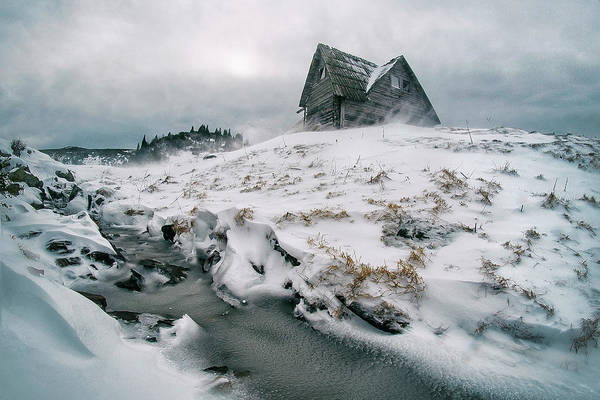 Weathered Photograph - Snowstorm On Mountain by Mirsad