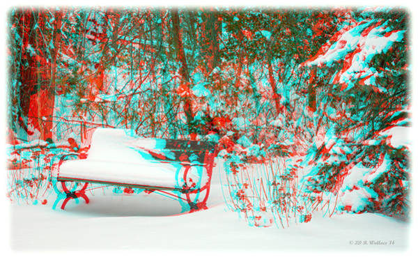 Anaglyph Photograph - Snowy Bench - Use Red-cyan Filtered 3d Glasses by Brian Wallace