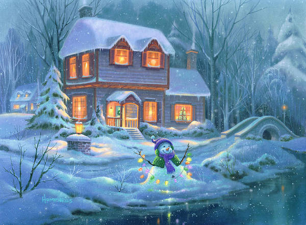 Lake House Painting - Snowy Bright Night by Michael Humphries