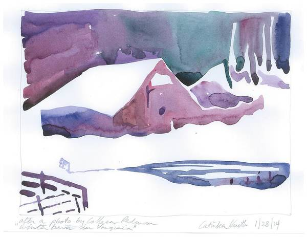 Painting - snowy cabin winter woods virginia blue purple watercolor Catinka Knoth H by Catinka Knoth