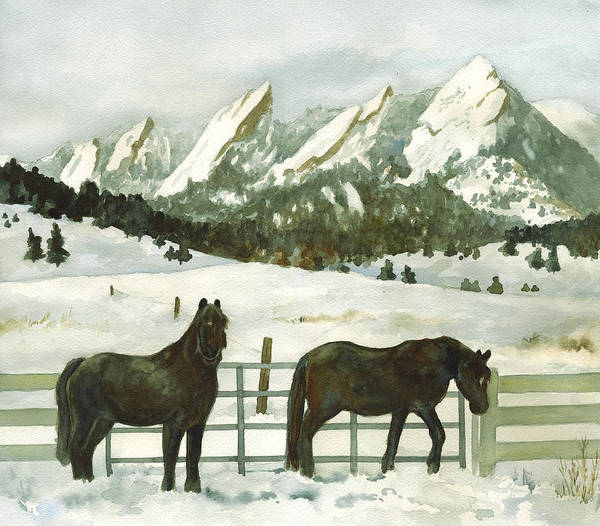 Rockies Wall Art - Painting - Snowy Day by Anne Gifford