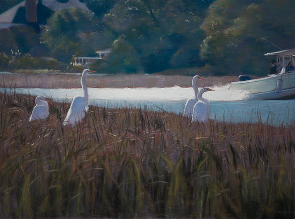 Pastel - Snowy Egrets Icw by Christopher Reid