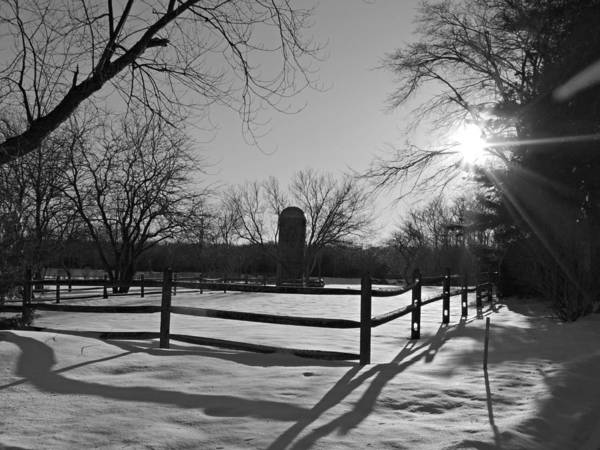 Photograph - Snowy Farm Scene At Seatuck Lane by Kimberly Perry