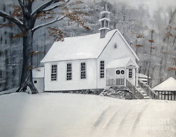 Happy Little Trees Painting - Snowy Gates Chapel  -little White Church - Ellijay by Jan Dappen