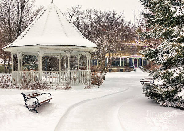 Photograph - Snowy Gazebo At Windom Park Color by Kari Yearous