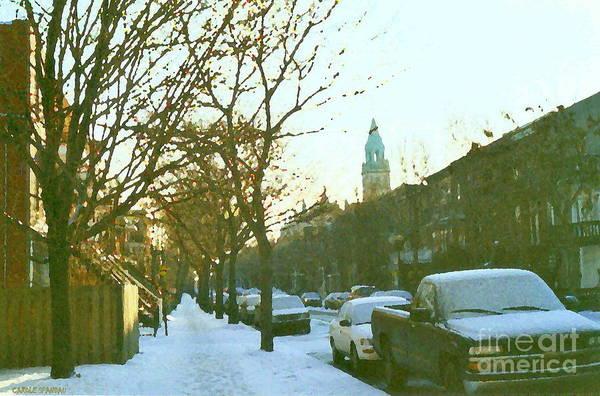 Painting - Snowy Montreal Winters City Scene Paintings Verdun Memories Church Across The Street by Carole Spandau