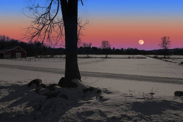 Photograph - Snowy Moonrise by Larry Landolfi