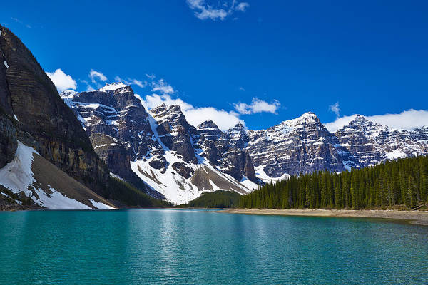 Moraine Lake Photograph - Snowy Mountains Overlooking Glacial Lake by Ron Bambridge