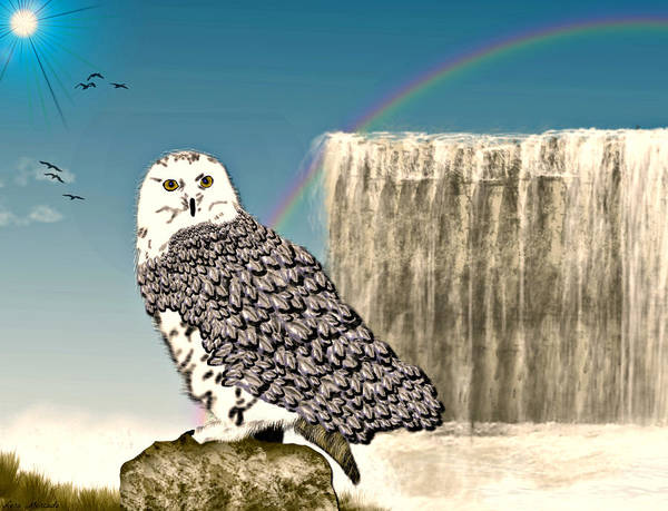 Digital Art - Snowy Owl by Lora Mercado