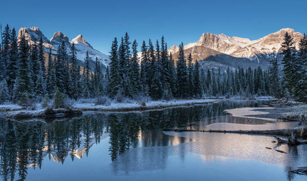Canmore Photograph - Snowy Pond With Mountains by Panoramic Images