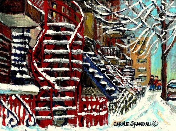 Wall Art - Painting - Snowy Steps The Red Staircase In Winter In Verdun Montreal Paintings City Scene Art Carole Spandau by Carole Spandau