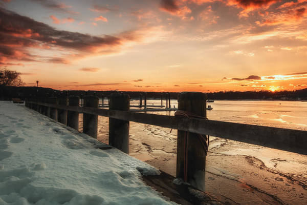 Photograph - Snowy Sunset In Northport New York by Alissa Beth Photography