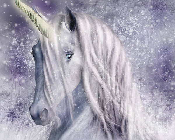 Digital Art - Snowy Unicorn Portrait by Elle Arden Walby