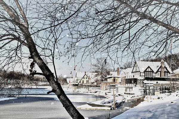 Photograph - Snowy View Of Boathouserow by Alice Gipson