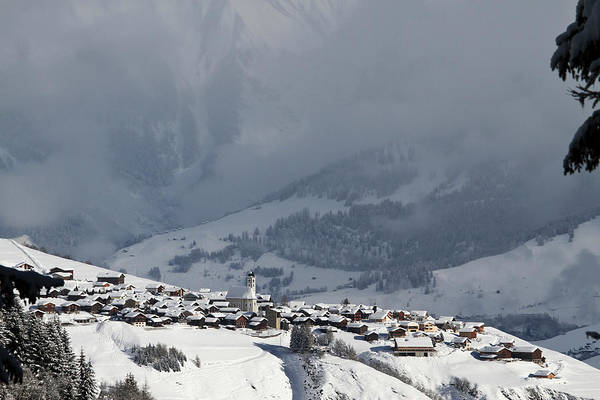 Chalet Photograph - Snowy Village With Mountain Range And by Gerhard Fitzthum