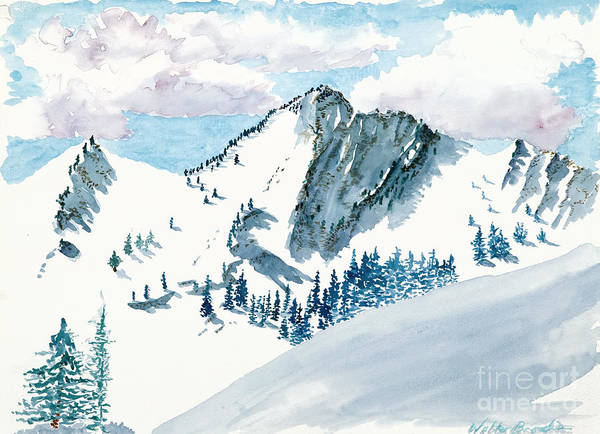 Painting - Snowy Wasatch Peak by Walt Brodis