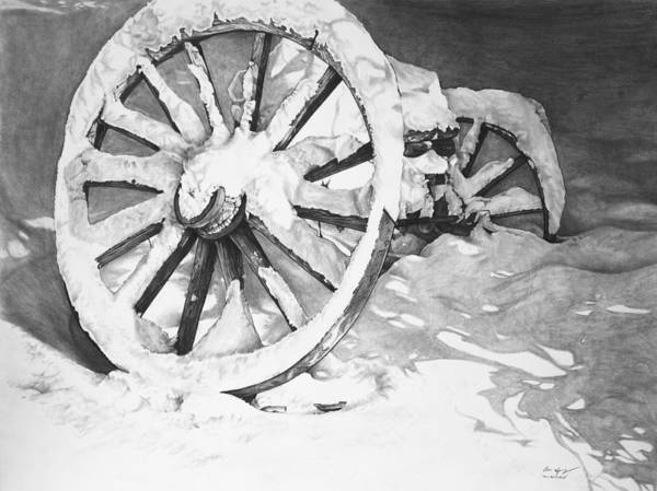Drawing - Snowy Wheel  by Aaron Spong