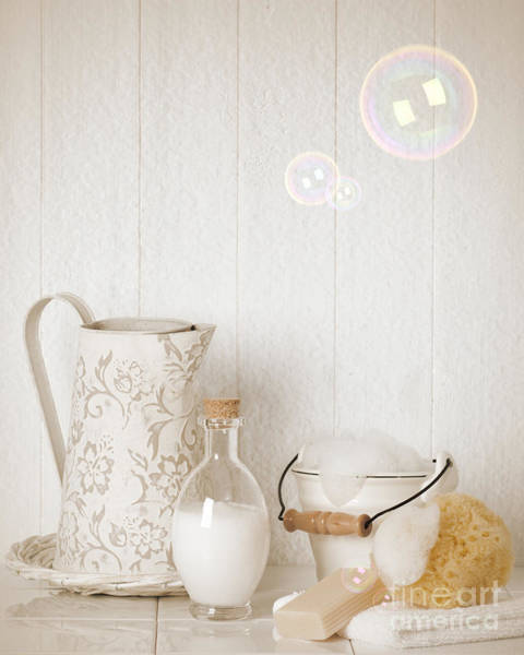 Bath Room Wall Art - Photograph - Soap Suds With Bubbles by Amanda Elwell