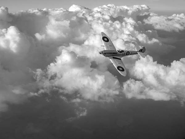 Photograph - Soaring Silver Spitfire Cloudscape Black And White Version by Gary Eason