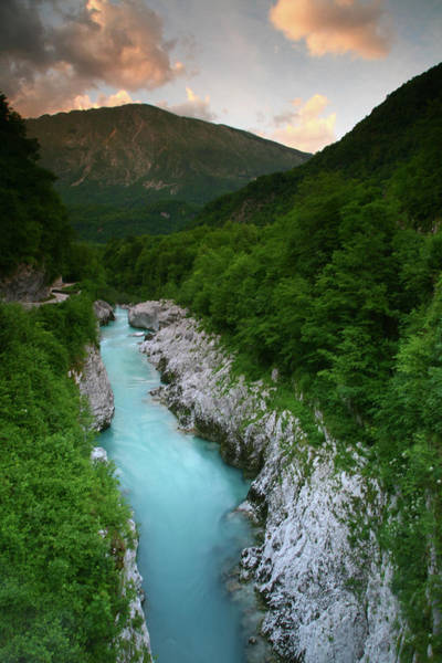 Vertical Landscape Photograph - Soca River And Limestone Gorge From by Max Paoli