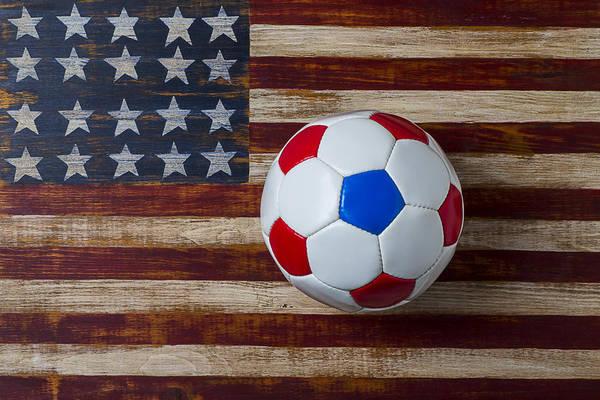 Wall Art - Photograph - Soccer Ball On American Flag by Garry Gay