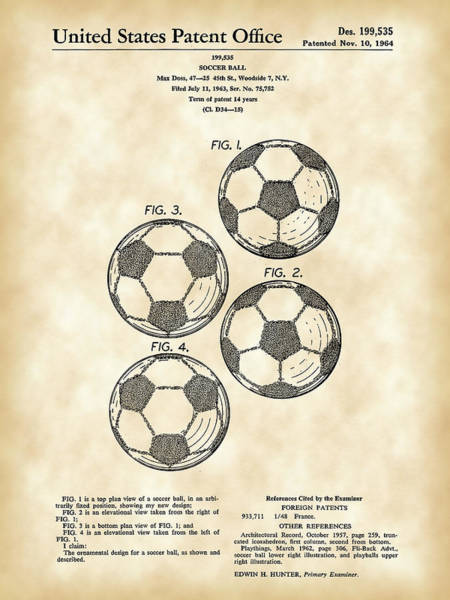 Wall Art - Digital Art - Soccer Ball Patent 1964 - Vintage by Stephen Younts