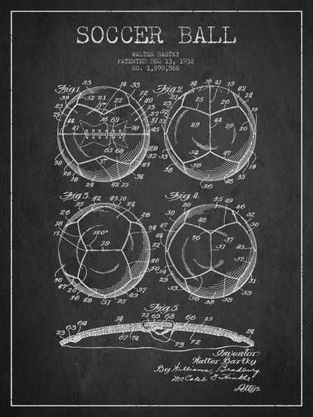 Wall Art - Digital Art - Soccer Ball Patent Drawing From 1932 - Dark by Aged Pixel