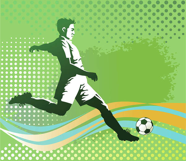 Men Digital Art - Soccer Player With Ball On Green by Vasjakoman