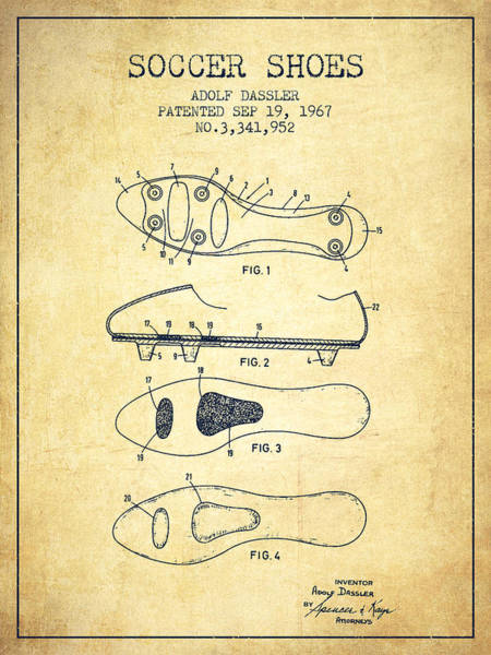 Gamer Digital Art - Soccer Shoe Patent From 1967 - Vintage by Aged Pixel
