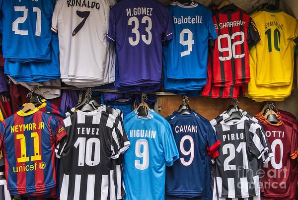 Italian Football Wall Art - Photograph - Soccer Star Jerseys by John Greim