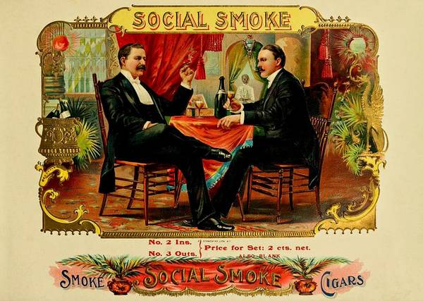 Painting - Social Smoke Vintage Cigar Advertisement by Movie Poster Prints
