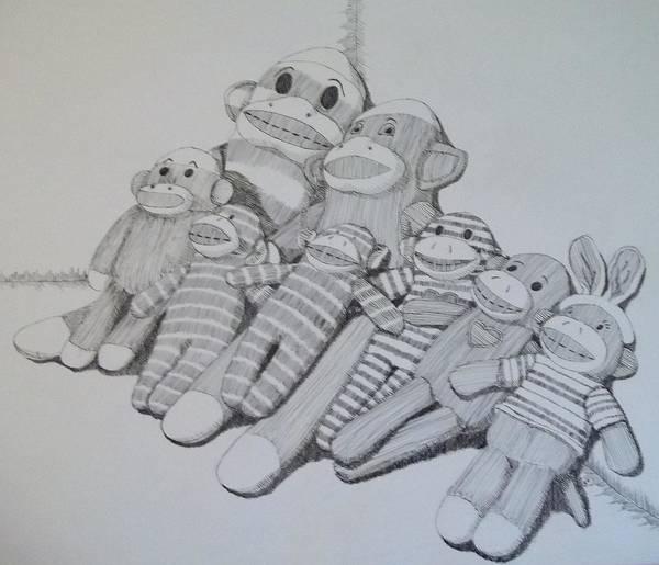 Sock Monkey Drawing - Sock Monkey Family Portrait by Gabrielle Lang