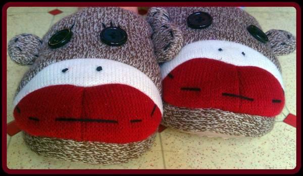 Sock Monkey Photograph - Sock Monkey Slippers by Kathy Barney