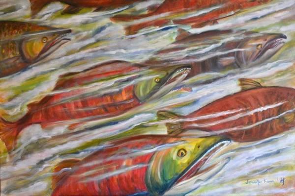 Wall Art - Painting - Sockeye Return by Jennifer Kwon