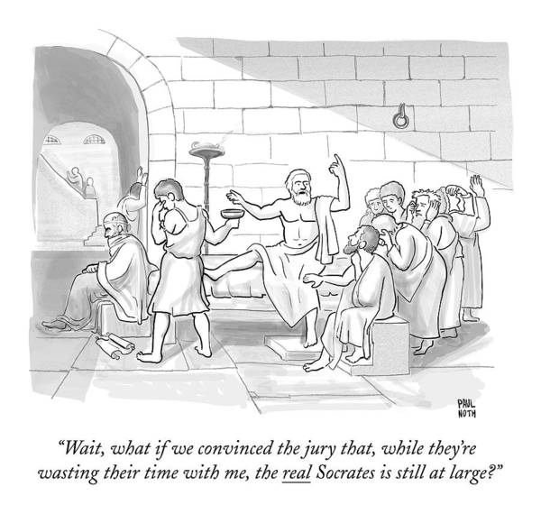 Painting Drawing - Socrates Drinking Hemlock by Paul Noth