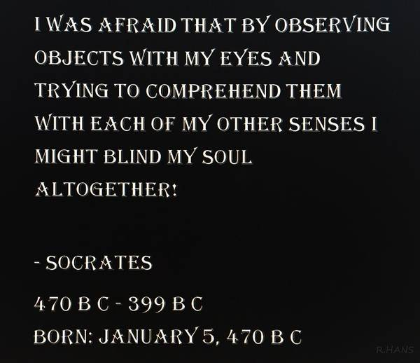 Capable Photograph - Socrates Quote In Negative by Rob Hans